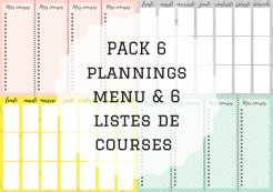 PACK 6 plannings menu & 6 listes de courses